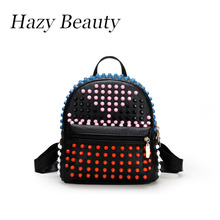 Hazy beauty New Pu leather women studs punk backpack super chic lady shoulder bag easy matching girls hand school bag DH651