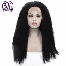 MSIWIGS Long Yaki Straight Lace Front Wigs for Black Women Synthetic Afro Braid Wig Heat Resistant Braided Twist Hair(China)