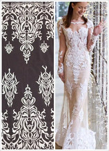 Nice looking wedding mesh lace silver white African embroidery French net lace fabric SYJ-71413