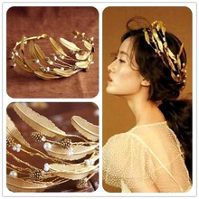 Retro Baroque Wedding Crown Bride Headdress Headband Hair Accessories Golden Leaf Tiara Gold Jewelry Vintage Crowns SL(China)