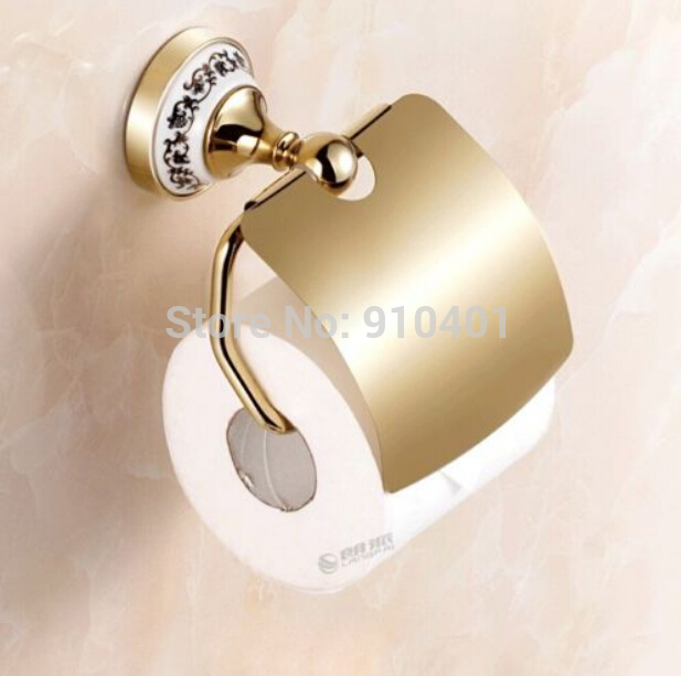 Hot Sale Wholesale And Retail Promotion NEW Modern Golden Brass Toilet Paper Holder With Cover Ceramic Base Tissue Bar<br><br>Aliexpress