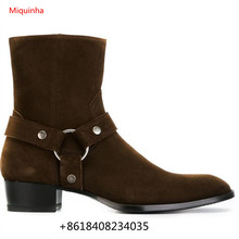 2017 Spring Chelsea Boots Men British Style Martin Shoes Male Cow Suede ankle zip Horsebit Boots Shoes Round Toe Ankle Boots(China)