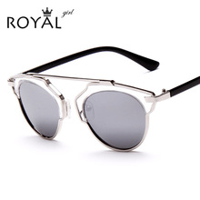ROYAL GIRL Metal Wrap Cat Eye Round Shades Glasses Fashion Summer Cool Sun glasses Women Brand Designer Sunglasses ss009