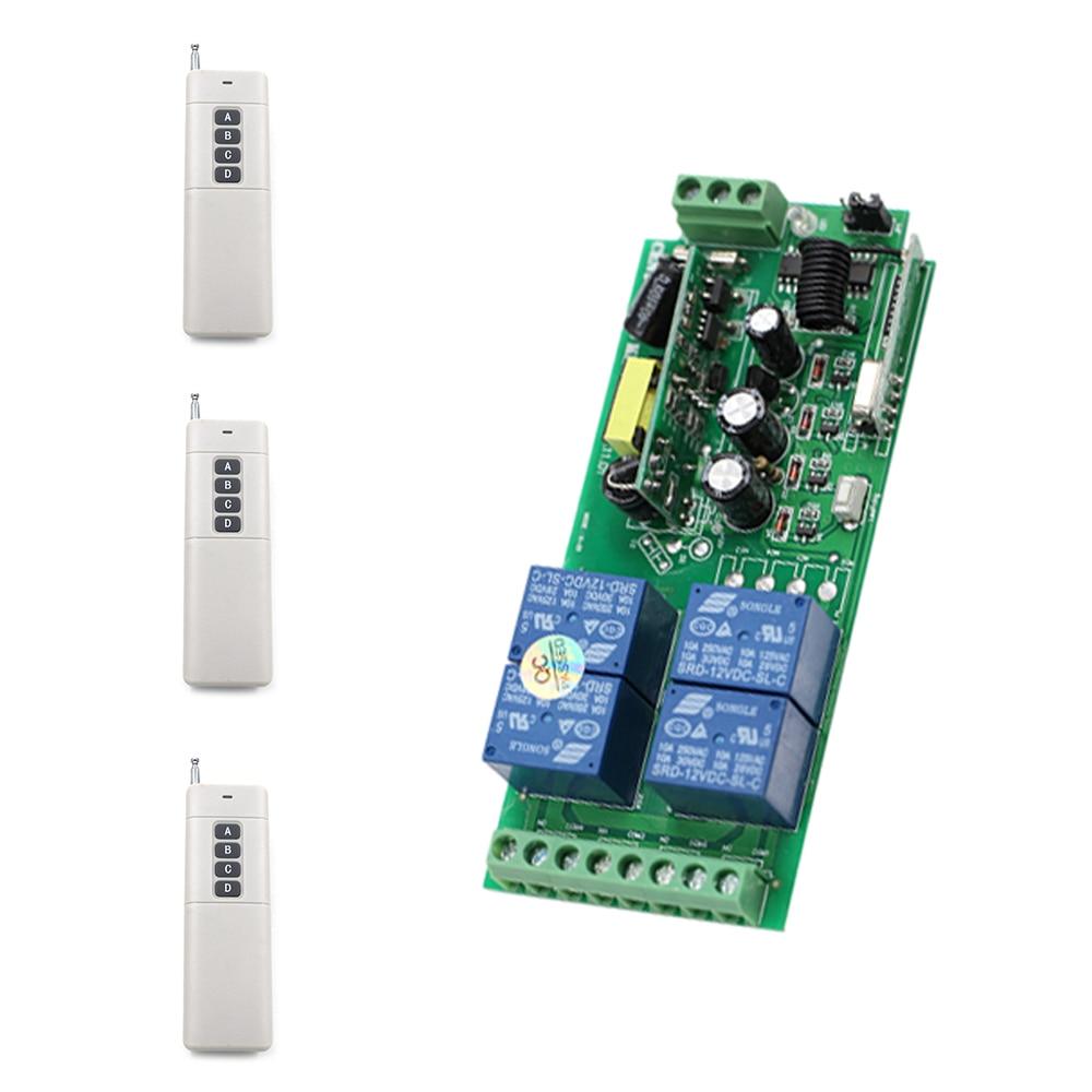 Wide Voltage  AC85V 110V 220V 230V 250V 4CH RF Wireless Remote Control Switch 3pcs Transmitters and Receiver for Smart Home<br>