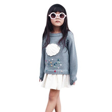 ROMIRUS Fashion girls Sweater Toddler Girls Kids Baby Cloud Sweater Knit Pullovers Warm Coat Outerwear Clothes free shipping(China)
