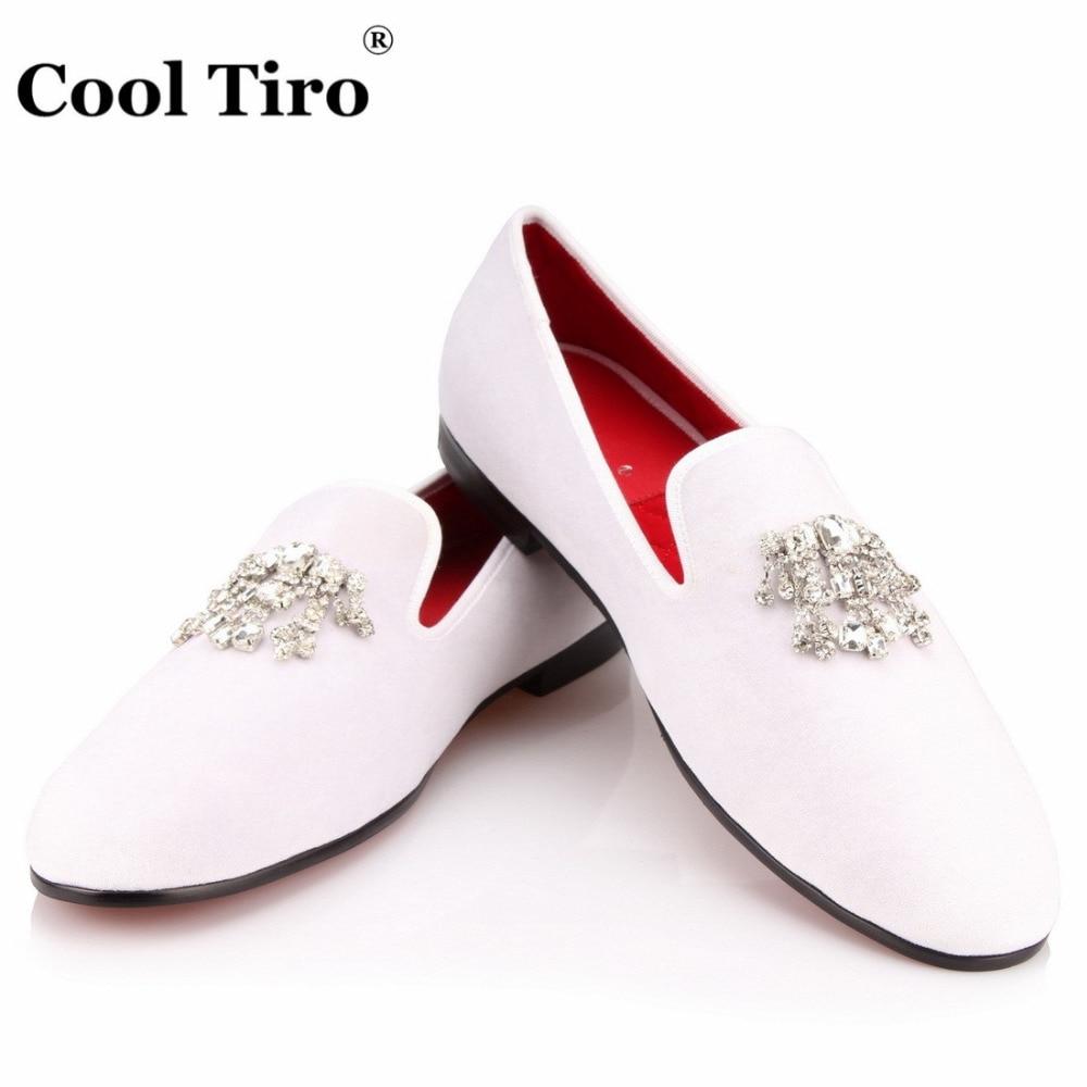 Crystal Tassel White velvet Loafers Men Flats (8)