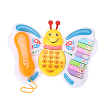 Baby Toys Butterfly Cellphone Mobile Phone Educational Learning Machine Piano Keyboard Music Toy Electric Phone Toy for Kids(China)