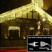 christmas lights outdoor decoration 4.5m droop 0.3-0.4-0.5m led curtain icicle string light new year wedding party garland light(China)