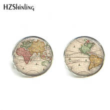 HZShinling 2017 World Map Pattern Cufflinks for Men Multicoloured Earth Map Shirt Cuff Links Personalized Cufflinks Wedding 006