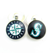 New Fashion Baseball Sports Mix Seattle Mariners Logo Glass Snap Button Charms Fit 18mm DIY Snap Bracelets Jewelry 20pcs/lot