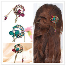 Hot Sale Women Lady Retro Crystal Butterfly Flower Hairpins Hair Stick Hair Clip