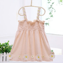 2017 Newborn Baby Girl Dress Summer Lace Btaces Kids Dresses Baby Pajamas Organic Cotton Infant Toddler Clothes(China)