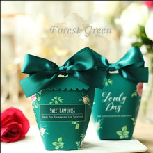 Free shipping Froest green pink blue lovely paper party cake favor boxes for bridal shower , ABWG1