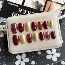 Glitter Gold Fake Nail Wine Red Blooming Acrylic Short Nail Full Cover Nail Tips Manicure Tools 24Pcs Z434