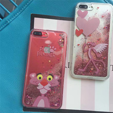 Lovely Cartoon Animal Pink Panther Liquid Glitter Quicksand Case For iPhone 6 Case For iPhone 6S 6 Plus 7 7Plus Back Cover