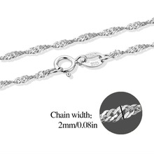 Solid 925 Sterling Silver Twisted Singapore Chain Link Necklace Jewelry 16/18 Inches Water-Wave Chian Jewelry For Women Girls
