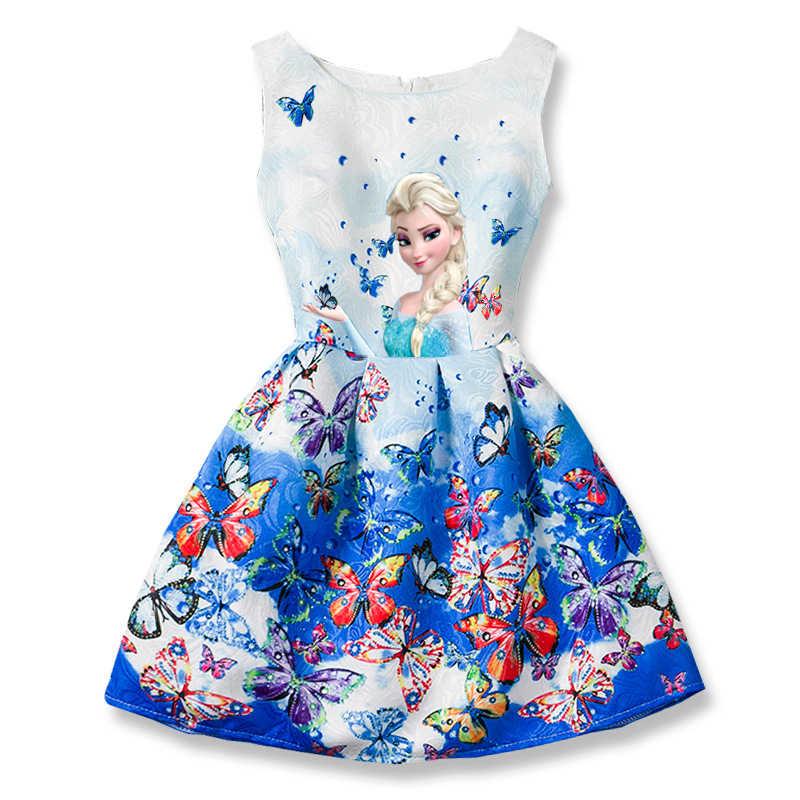 Эльза платья для девочек детская одежда лихорадка 2 подростков платье  принцессы бабочка Эльза Анна печати вечерние 975181764bc