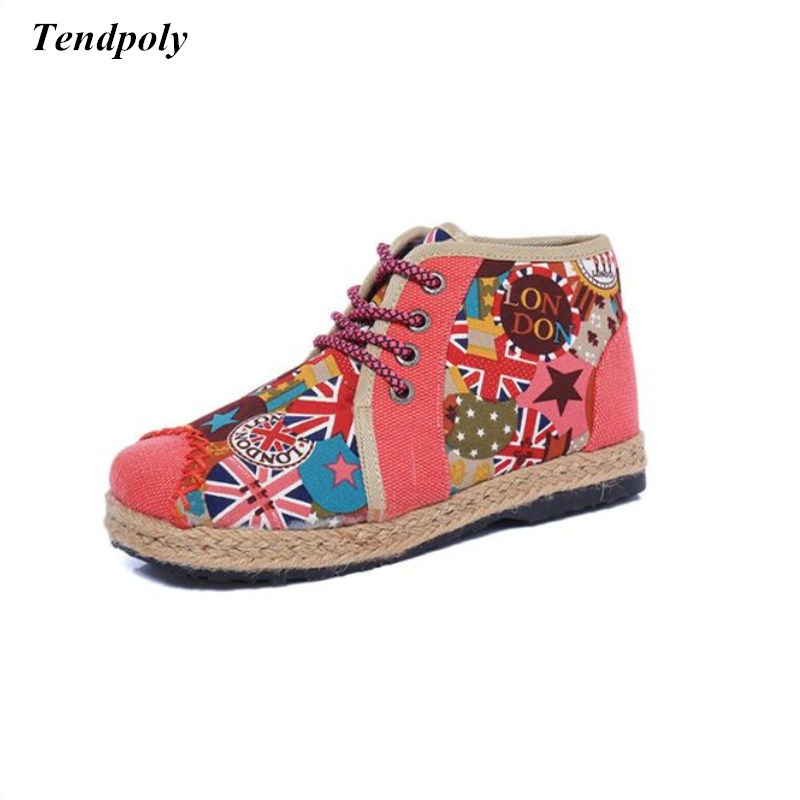 Autumn winter new retro national wind old Beijing cloth shoes linen high embroidery shoes fashion casual hot Women's shoes