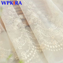 European Modern Luxury Sheer Volie Curtain Living Room White Pink Lace Floral Side Tulle Curtain Window Cortina Panel New M061D3(China)