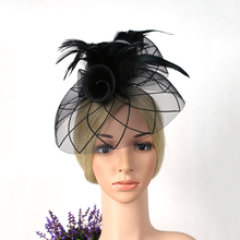 2016 Hot selling Vintage Black Veil Feather Hats, Fashion Wedding Bridal fascinators Hat for party/races/church/dance/wedding