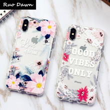 Ruo Dawn For iphone X 6 6S 7 8 Plus Phone Cases Soft Silicone Shell Relief Flower Unicorn Transparent Mobile Anti-knock Cover(China)