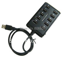 Free shipping 10 ports USB2.0 HUB 2.0 with switch light DC input factory price good quality popular design