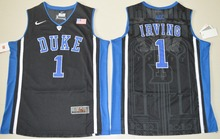 NIKE Duke Blue Devils Kyrie Irving 1 V Neck College Ice Hockey Jerseys White Size S,M,L,XL,2XL(China)