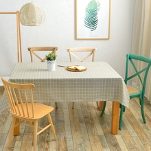 1PCS Plaid Tablecloth Linen Fabric Table Cover Home Decoration for Kitchen Cheap Waterproof Rectangle Table Cover(China)