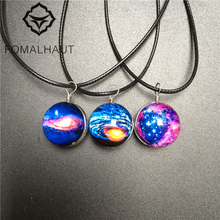 FOMALHAUT dream sky Crystal glass Ball Galaxy Star Necklace Leather Chain Pendant Necklaces Women 2016 Jewelry XX-63