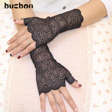 Spring And Summer Women Gloves UV Sunscreen Black Lace Gloves Fingerless Sexy Gloves Dance Driving Guantes Mujer Luvas AGB181(China)