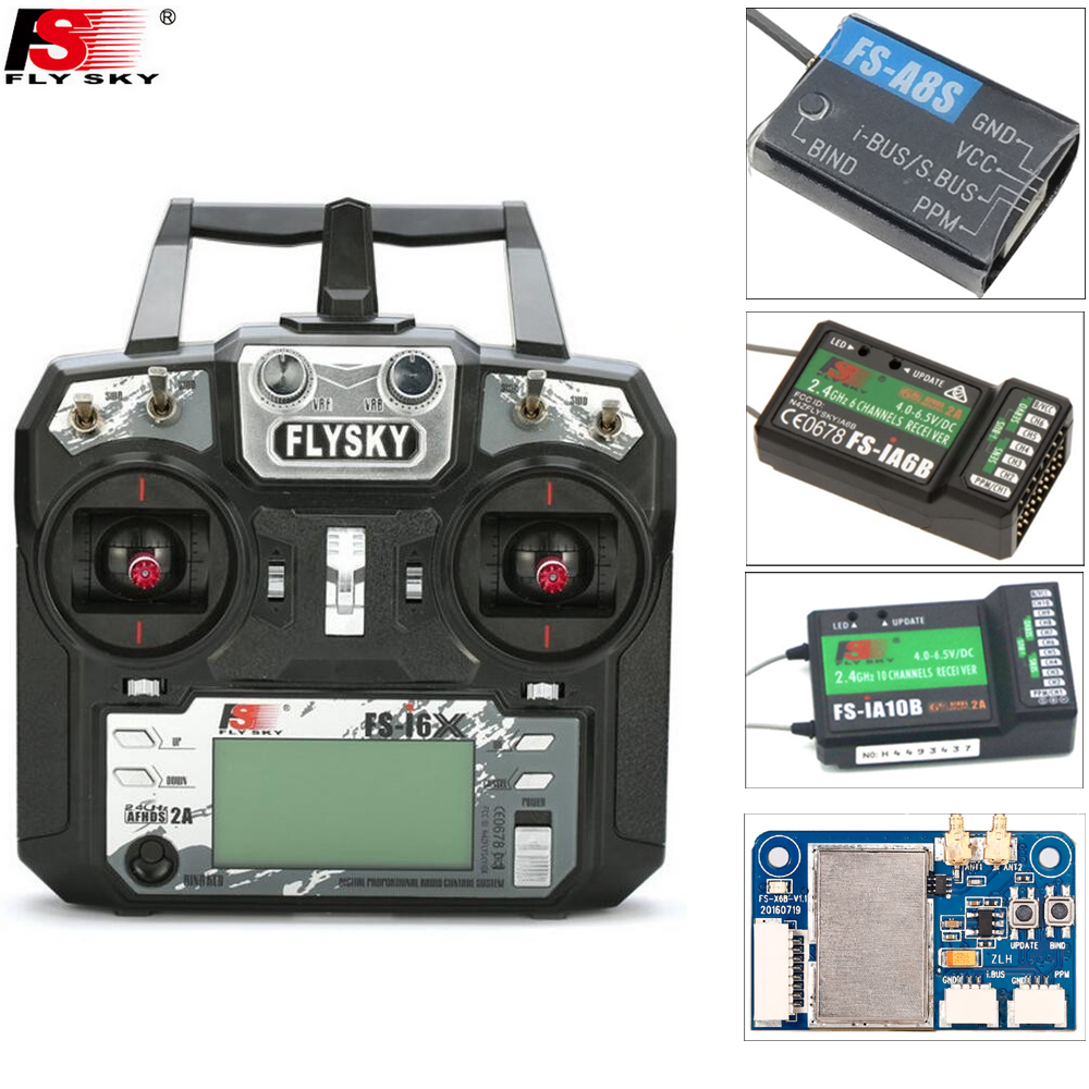 Original Flysky FS-i6X 10CH 2.4GHz AFHDS 2A RC Transmitter+FS-iA6B/FS-iA10B/FS-X6B/FS-A8S Receiver For Rc Airplane(Mode 2)(China)