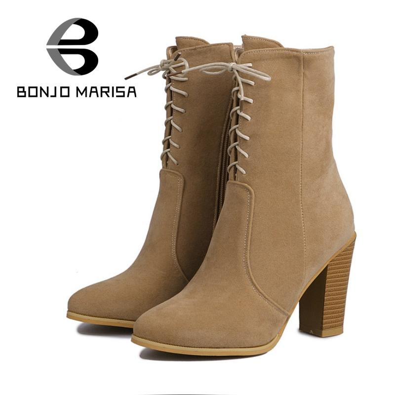 BONJOMARISA Sexy Shoes Woman 2017 Fashion High Heels Women Boots Autumn Winter Mid Calf Pointed Toe Platform Boots Size 34-43<br><br>Aliexpress