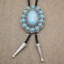 Southwest Silver Indian Turkey Blue Stone Zuni Navajo Leather Neck Bolo Tie Line Dance Good Quality Jewelry 2017 Necklace(China)