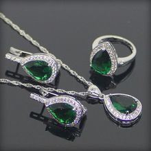 Green Zircon Silver 925 Costume Jewelry Sets Wedding Women Necklaces and Pendants Rings Clips Earrings With Stones Set Gift Box(Hong Kong,China)