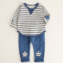 boys clothing set lucky child Baby Striped Cartoon Tops+ Pants Cute 2 Pieces Set Kids Cotton Confortable Suits For 0.5~3 Years(China)