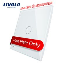 Livolo Luxury White Pearl Crystal Glass, 80mm*80mm, EU standard, Single Glass Panel For 1 Gang  Wall Touch Switch,VL-C7-C1-11