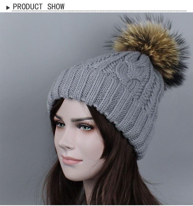 Casual Hat Pom Poms Women Winter Cap Female Classic Knitted Mink Fur Warm Womens Winter Hats Thick Skullies Beanies Bone Gorro