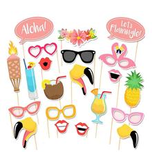 21pcs Flamingo Hawaii Themed Summer Party Photo Booth Props Kit DIY Luau Party Supplies For Holiday Wedding Beach Party 2017