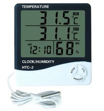 Digital LCD Thermometer Hygrometer Electronic Temperature Humidity Meter Indoor Outdoor Tester Alarm Clock HTC-2(Hong Kong)