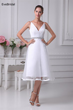 Wedding Dress Tulle netting Crystal Beading Knee length Custom made Plus size  WD56545