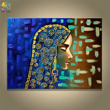 hand made Islamic girl canvas oil painting egypt woman portrait painting picture Arab isramic decoration wall painting(China)