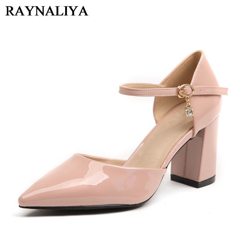 2018 Women Shoes Genuine Leather Sandals Summer Footwear For Female Dress Shoes Thick High Heel Pointy Toe Sandal BLY-A0065<br>