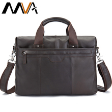MVA Genuine Leather Men Bags Men Shoulder Crossbody Bags Men's Briefcase Handbag Messenger Leather Laptop Bag 14 inch  Male Bag