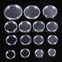 20pcs/Lot  Clear Coin Holder Capsules Cases Round Storage Ring Plastic Boxes High-Quality