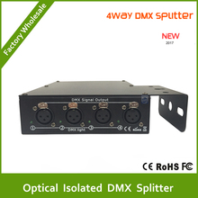 DHL Free Shipping Wholesale 4pcs high quality Optical isolated DMX splitter, 4 way dmx splitter for stage light splitter(China)