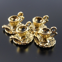 40pcs/pack Vintage Antique Gold Alloy Coffee Cup Wineglass Man Charms Necklace Pendants Handmade Craft Jewelry Findings 31847