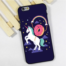 Fit for iPhone 4 4s 5 5s 5c se 6 6s 7 plus ipod touch 4 5 6 back skins phone case cover CUTE UNICORN ON A DONUT
