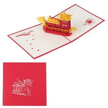3D Greeting Card Pop Up Paper Cut Postcard Dragon Boat Valentines Birthday Wedding H06(China)