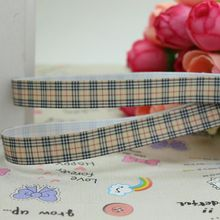 3/8'' Free shipping plaid brand printed grosgrain ribbon hairbow diy party decoration wholesale OEM 9mm P1960