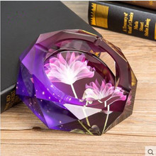 Crystal ashtray, home decoration, office supplies, 10 cm in diameter(China)